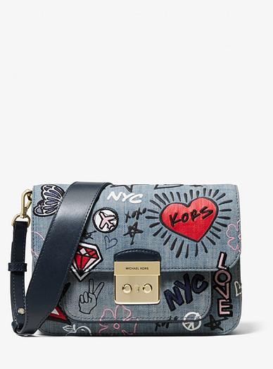 c6fee478f184 Sloan Editor Embroidered Denim Shoulder Bag | Michael Kors