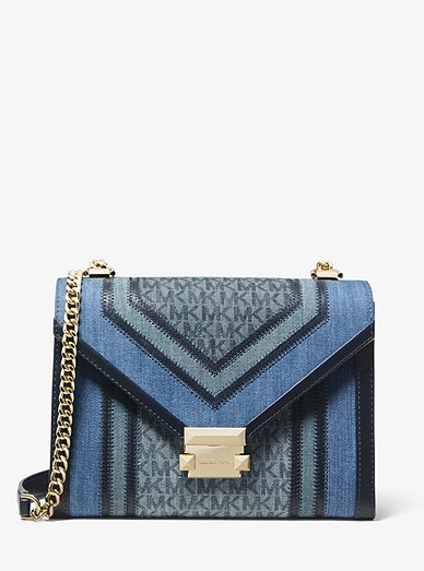 2e5fccb66062 Whitney Large Denim Logo Convertible Shoulder Bag | Michael Kors