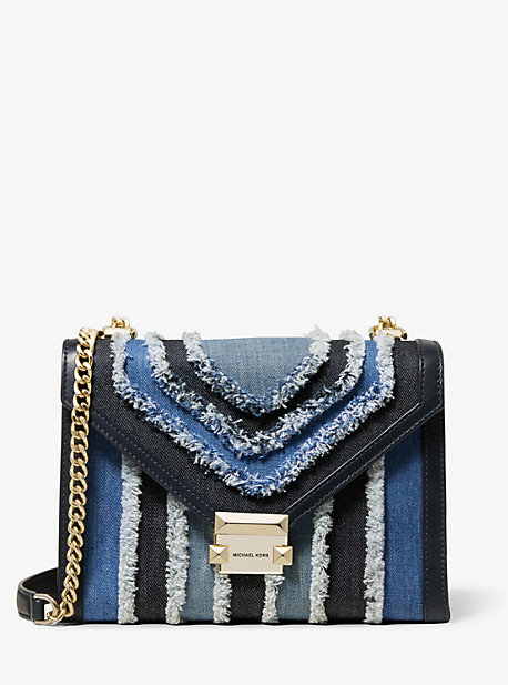 Whitney Large Frayed Denim Convertible Shoulder Bag