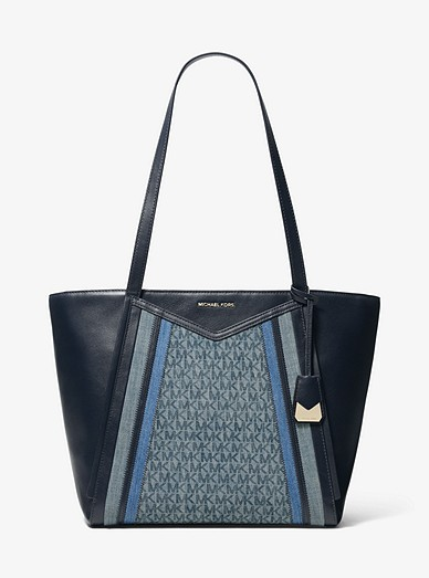 67b428a1834e Whitney Large Denim Logo And Leather Tote | Michael Kors