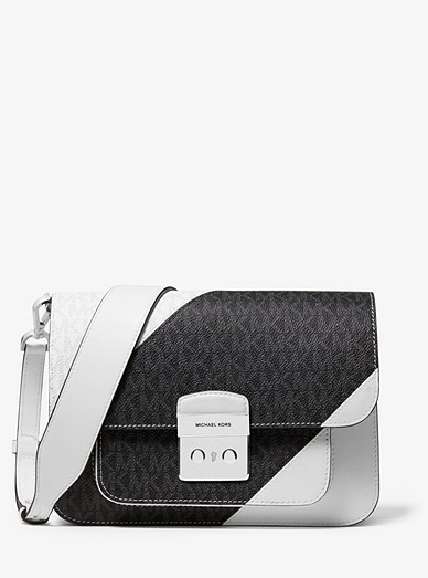 Sloan Editor Two Tone Logo And Leather Shoulder Bag Michael Kors