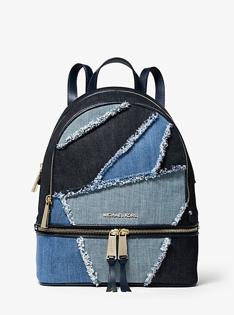 Rhea Medium Frayed Denim Backpack