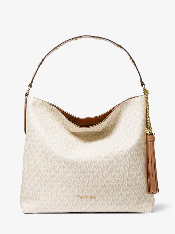 Brooklyn Large Logo Shoulder Bag VANILLA/ACORN