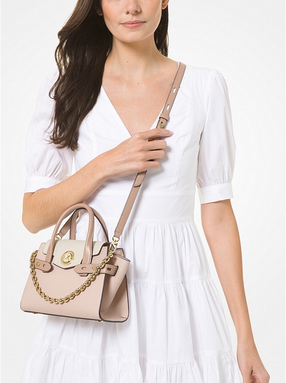 Carmen Extra-Small Color-Block Saffiano Leather Belted Satchel