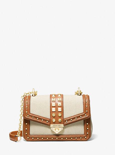 마이클 마이클 코어스 소호백 스몰 Michael Michael Kors SoHo Small Studded Leather and Canvas Shoulder Bag