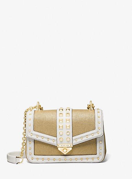 마이클 마이클 코어스 소호백 스몰 Michael Michael Kors SoHo Small Studded Leather and Metallic Canvas Shoulder Bag,WHITE/PALE GOLD