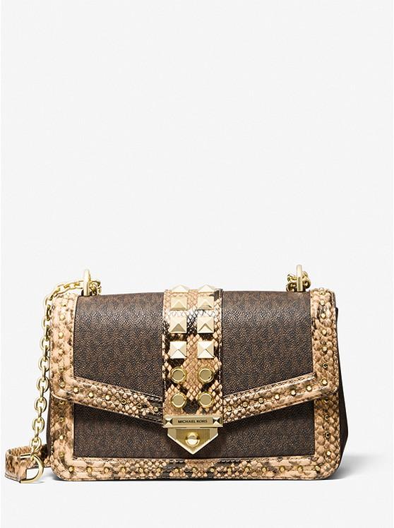 SoHo Large Studded Snake Embossed Leather and Logo Shoulder Bag