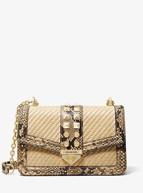 마이클 마이클 코어스 소호백 라지 Michael Michael Kors SoHo Large Studded Snake Embossed Leather and Straw Shoulder Bag,NATURAL