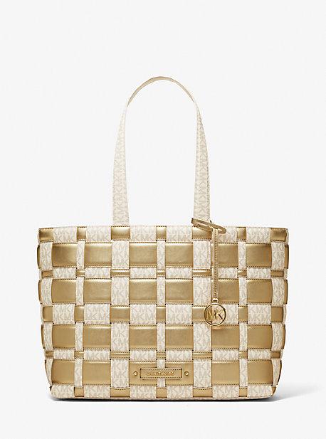 마이클 마이클 코어스 Michael Michael Kors Ivy Large Woven Metallic and Logo Tote Bag,VANILLA/PALE GOLD
