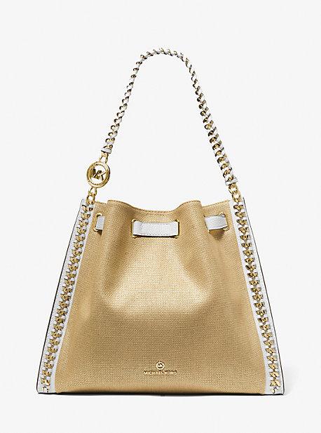 마이클 마이클 코어스 Michael Michael Kors Mina Large Metallic Canvas Chain Shoulder Bag,WHITE/PALE GOLD