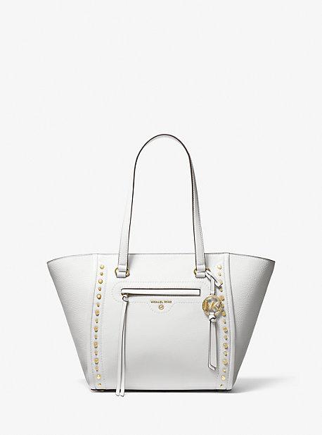마이클 마이클 코어스 Michael Michael Kors nCarine Medium Studded Pebbled Leather Tote Bag,OPTIC WHITE