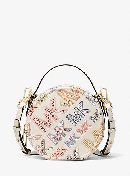 마이클 마이클 코어스 Michael Michael Kors Delaney Medium Logo Embossed Leather Canteen Crossbody Bag