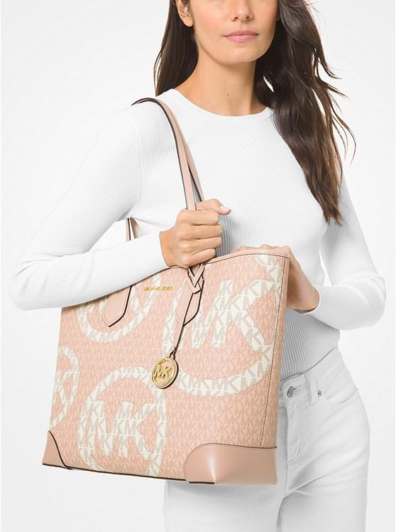 4.10 (Reg 8) Michael Kors Eva Large Two-Tone Graphic Logo Tote Bag