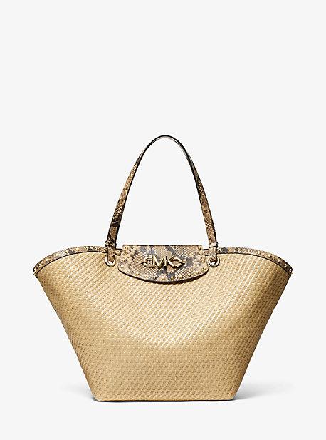 마이클 마이클 코어스 이지백 엑스라지 Michael Michael Kors Izzy Extra-Large Straw Tote Bag,NATURAL