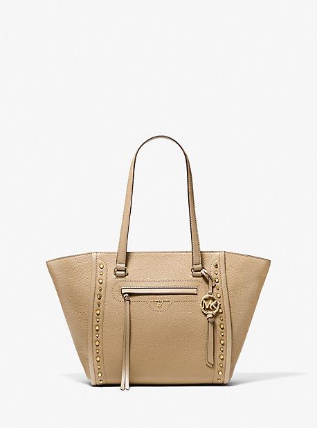 마이클 마이클 코어스 Michael Michael Kors Carine Medium Studded Pebbled Leather Tote Bag,CAMEL