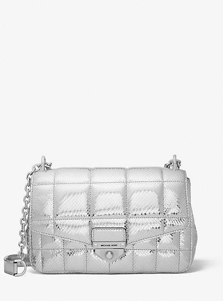 마이클 마이클 코어스 Michael Michael Kors SoHo Large Quilted Metallic Snake Embossed Leather Shoulder Bag,SILVER
