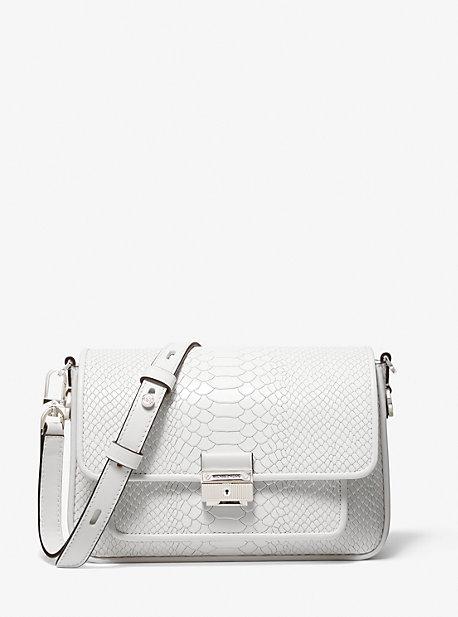 마이클 마이클 코어스 Michael Michael Kors Bradshaw Medium Snake Embossed Leather Messenger Bag,OPTIC WHITE