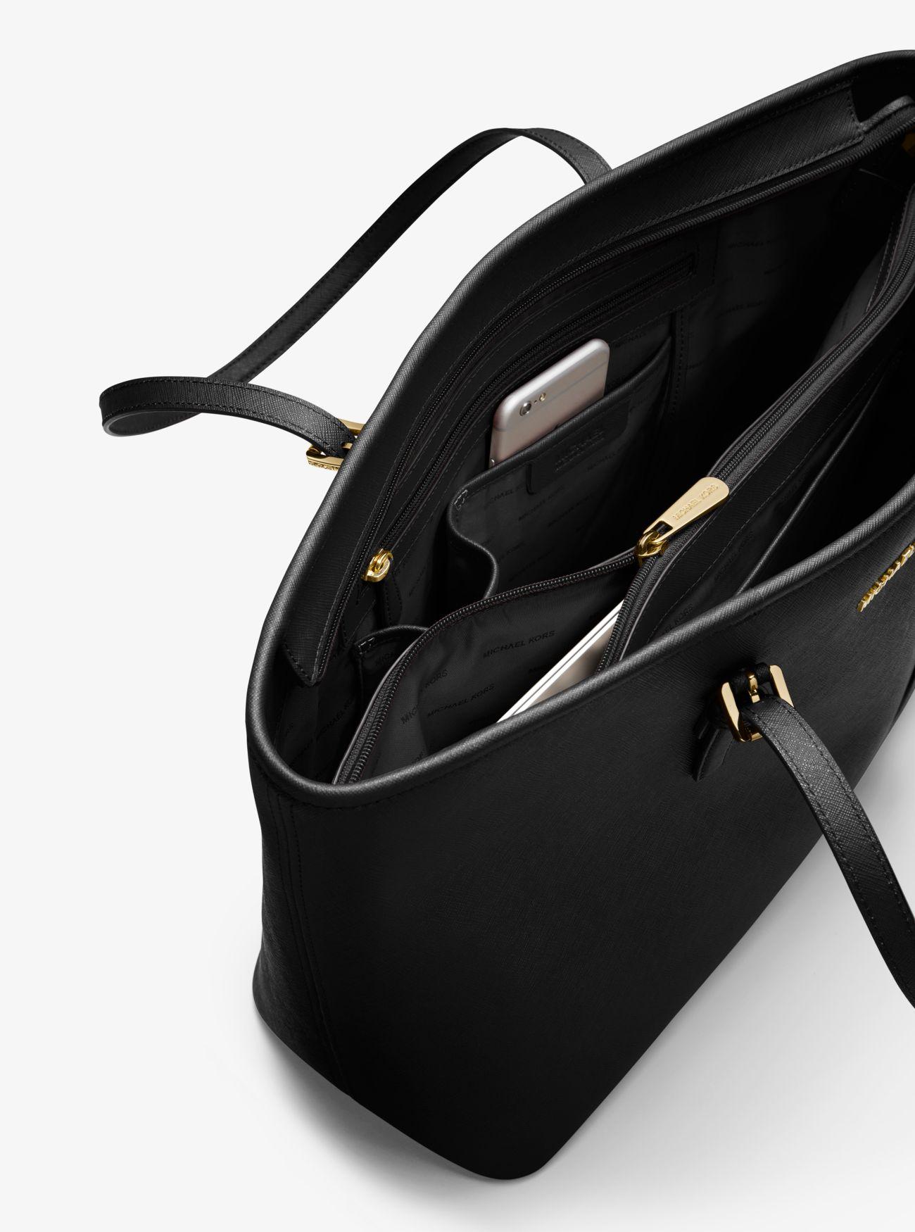 13991221b7ec ... shopping jet set travel medium saffiano leather top zip tote. michael  michael kors 854c9 3bd74