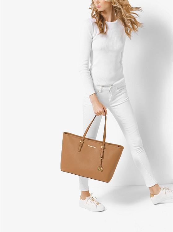 45708297980 Jet Set Medium Saffiano Leather Top-zip Tote Bag | Michael Kors