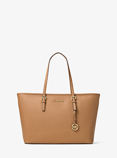 de58fed9335ca7 Jet Set Medium Saffiano Leather Top-Zip Tote Bag · michael michael kors ...