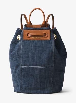 krissy large denim backpack michael kors rh michaelkors com
