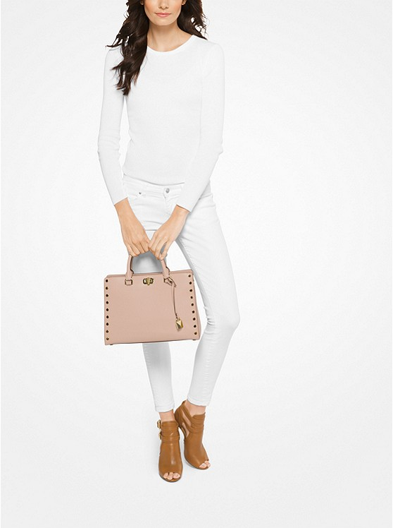 Sylvie Large Studded Leather Satchel