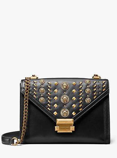 Whitney Large Embellished Leather Convertible Shoulder Bag