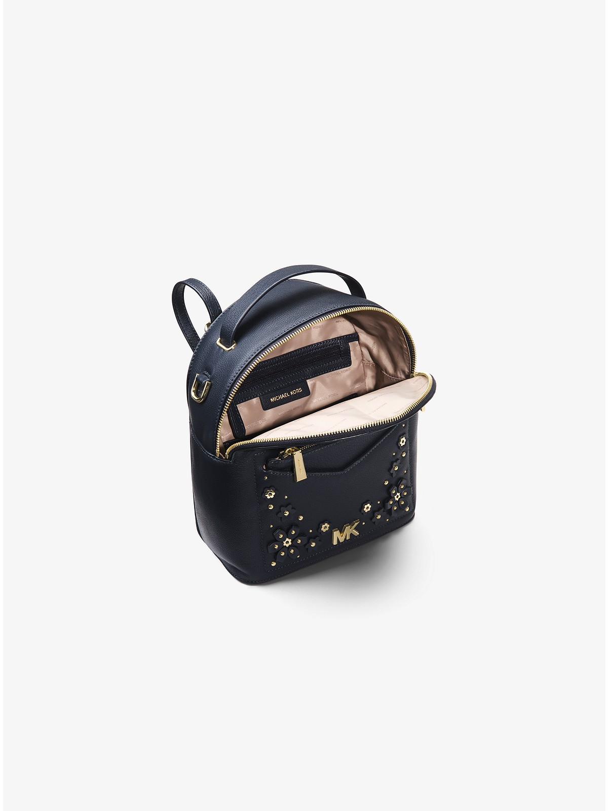 aad4680cfd0a Michael Kors - Jessa Small Floral Embellished Pebbled Leather Convertible  Backpack - 4
