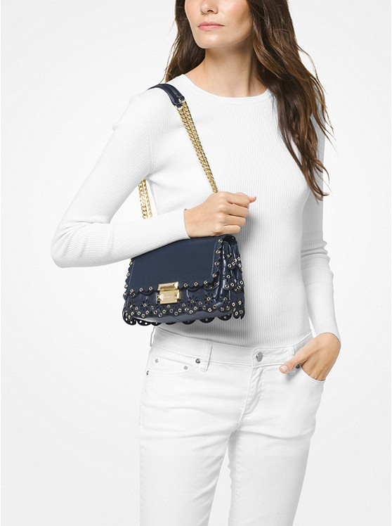 4d3302f786d0 ... Sloan Small Floral Scalloped Leather Shoulder Bag