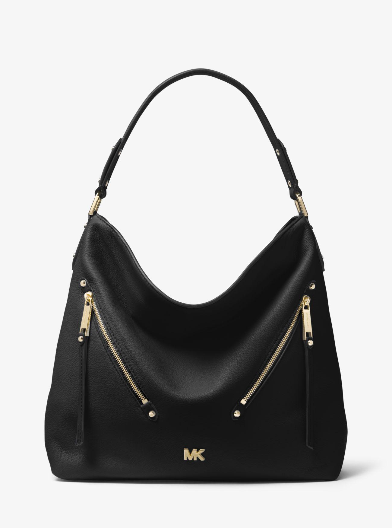 Evie Large Pebbled Leather Shoulder Bag