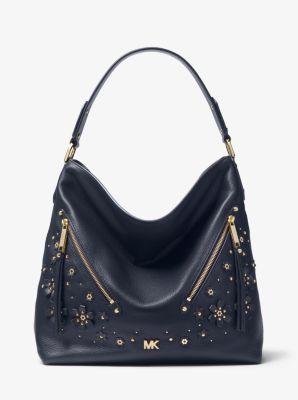 1ba7eab936bb6c Evie Large Floral Embellished Pebbled Leather Shoulder Bag | Michael Kors