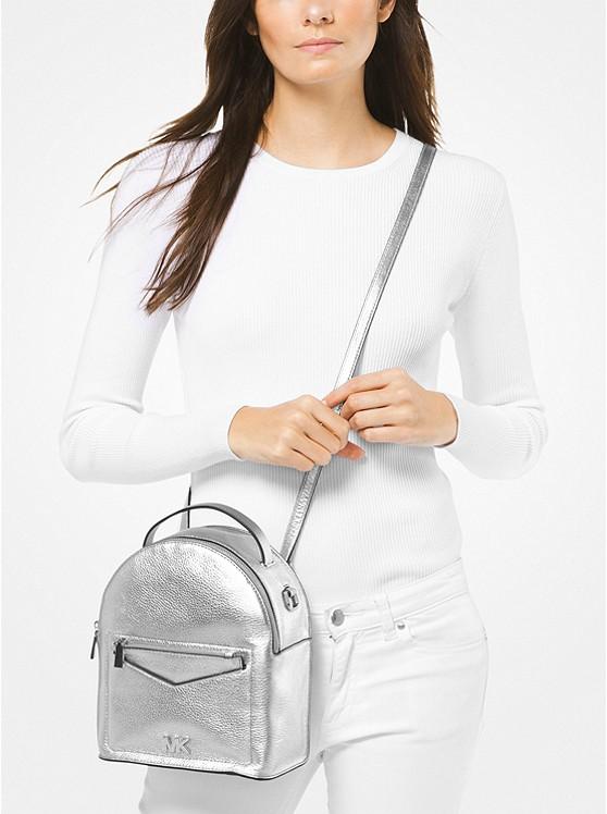 86c510c1f41e Jessa Small Metallic Pebbled Leather Convertible Backpack | Michael Kors