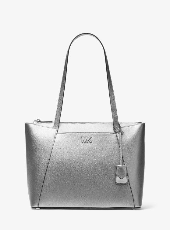 Maddie Medium Metallic Crossgrain Leather Tote by Michael Michael Kors