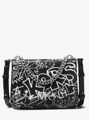 d718be3d3619 Mott Large Graffiti Leather Crossbody | Michael Kors