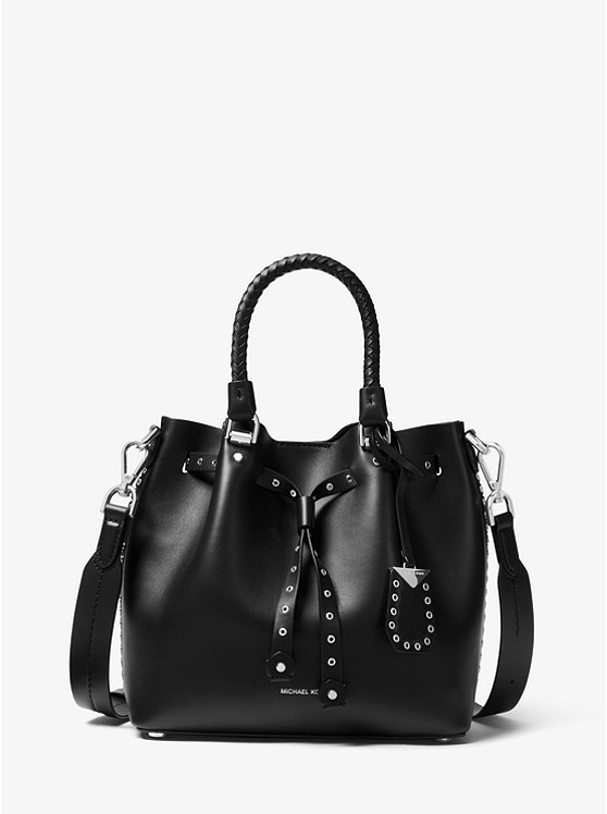 62ed3c260a90 Shoptagr | Blakely Small Grommeted Leather Bucket Bag by Michael ...