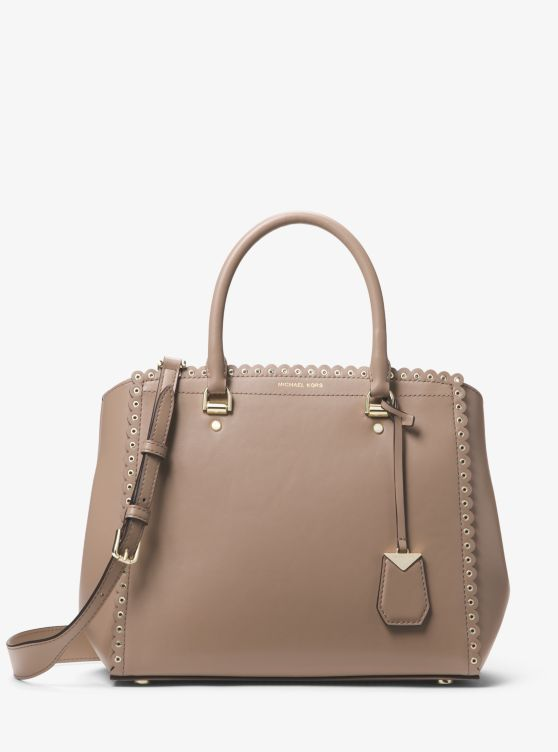 Benning Large Scalloped Leather Satchel by Michael Michael Kors