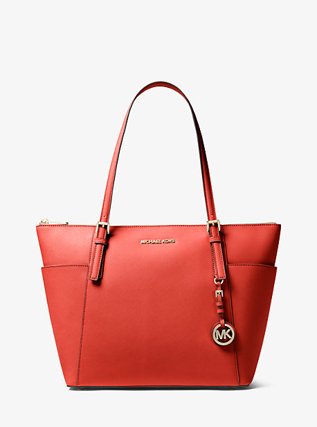 7dcc69166 Jet Set Large Saffiano Leather Top-Zip Tote Bag. MICHAEL Michael Kors ...