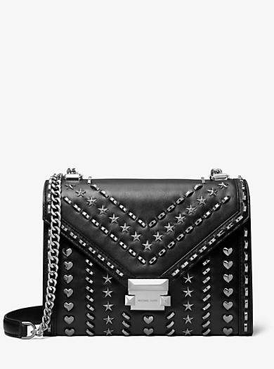 Whitney Large Studded Leather Convertible Shoulder Bag Michael Kors