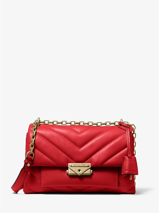 Cece Medium Quilted Leather Convertible Shoulder Bag BRIGHT RED