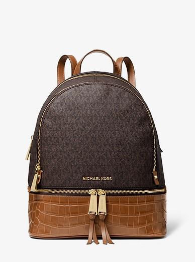 30e155298b16 Rhea Medium Logo And Leather Backpack   Michael Kors