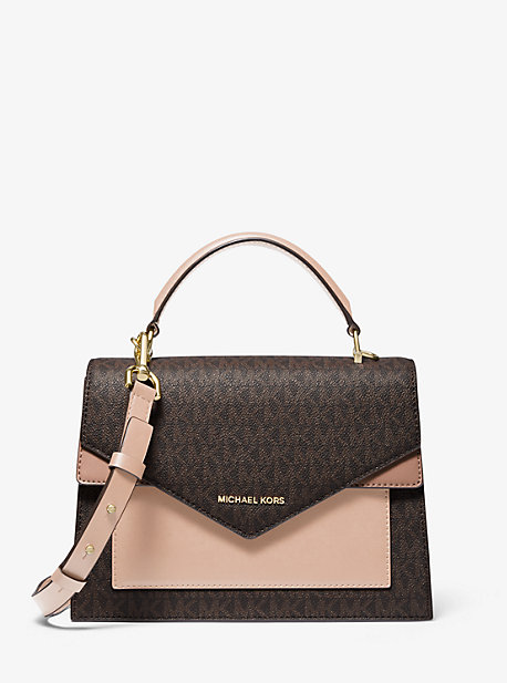deb8e596 Mercer Medium Tri-color Pebbled Leather Belted Satchel | Michael Kors