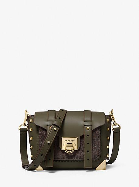 Manhattan Small Leather and Logo Crossbody Bag
