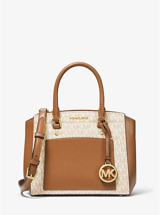 Park Medium Logo And Leather Satchel by Michael Kors