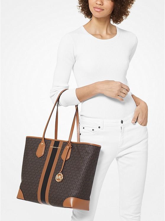 Eva Large Logo Stripe Tote Bag BRN/ACORN