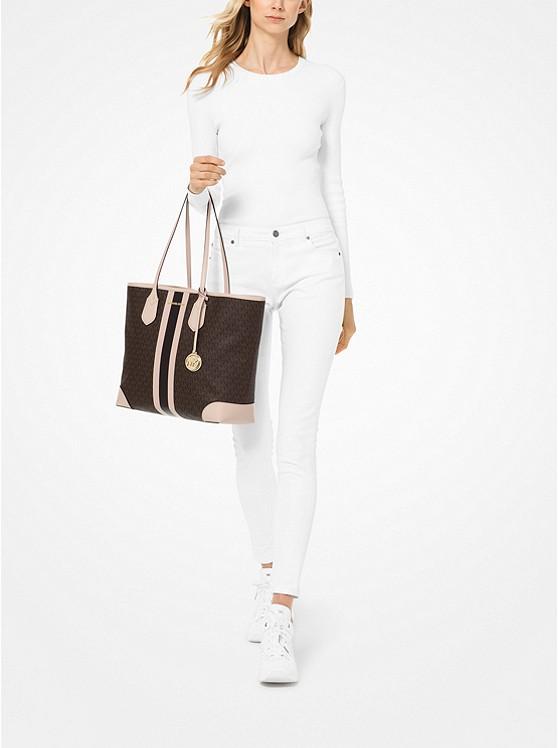 Eva Large Logo Stripe Tote Bag BRN/SFTPINK