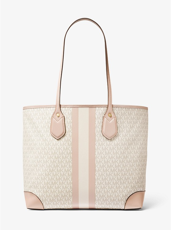 Eva Large Logo Stripe Tote Bag VANILLA/SOFT PINK