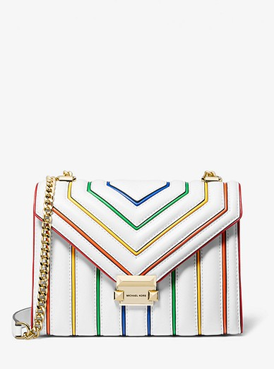 Whitney Large Rainbow Quilted Leather Convertible Shoulder Bag Michael Kors