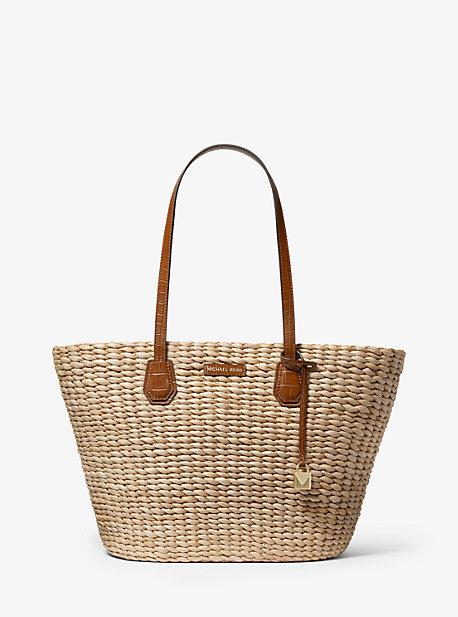Jessie Sac fourre-tout en paille tress/ée pour femme grand sac /à main en coquillage tress/é /à la main sac /à bandouli/ère en rotin pour femme