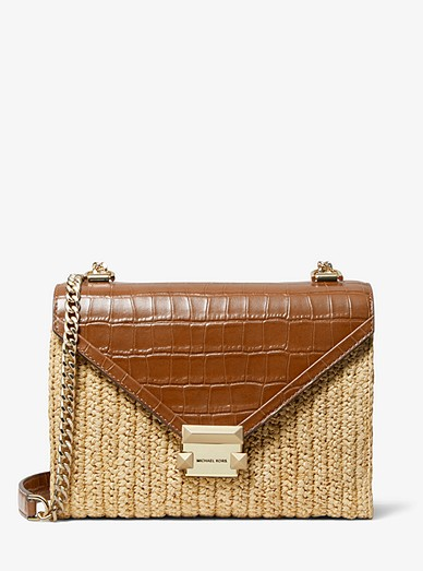 c74075aa4 Whitney Large Raffia And Leather Convertible Shoulder Bag | Michael ...