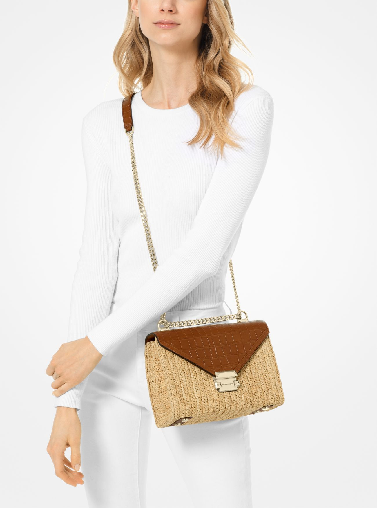 5f541dea11be ... Whitney Large Raffia and Leather Convertible Shoulder Bag